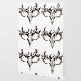 deer skull with flower crown Wallpaper