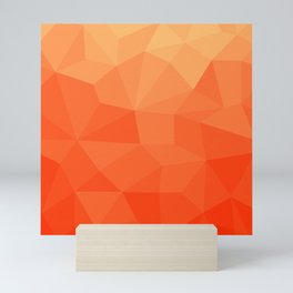Abstract Geometric Gradient Pattern between Pure Red and very light Orange Mini Art Print