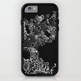 White Jellyfish in Black Abyss iPhone Case