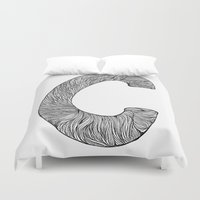font Duvet Covers featuring Hand Drawn Font C by benw