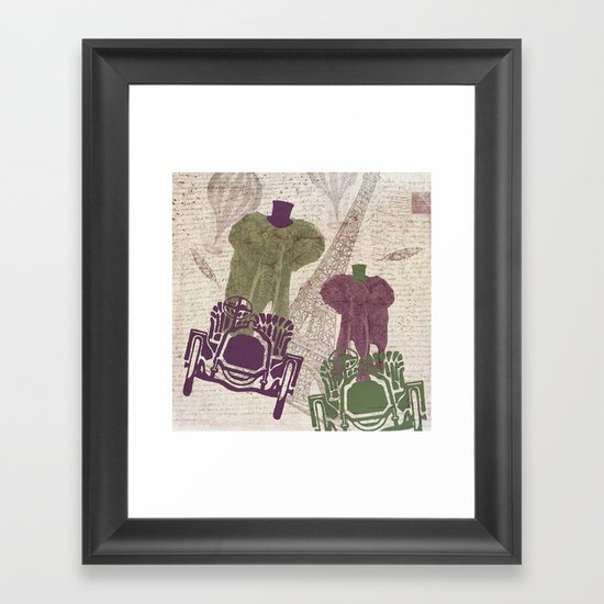 Two elephants in Paris Framed Art Print