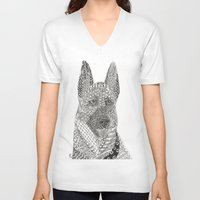german shepherd V-neck T-shirts featuring German Shepherd by DiAnne Ferrer