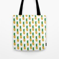 pineapples Tote Bags featuring Pineapples by millymay2