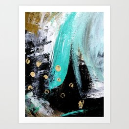 Fairy Dreams: an abstract mixed media piece in black, white, teal, and gold Kunstdrucke