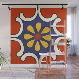 Talavera Mexican Bold Yellow Flora with Red Background Wall Mural