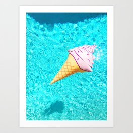 pink ice cream cone float all up in my pool yo Art Print