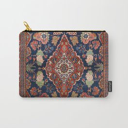 Persia Kashan Old Century Authentic Colorful Lattice Red Medallian Vintage Rug Pattern Carry-All Pouch