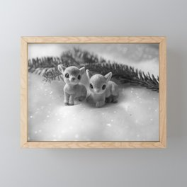 Holiday Fawns Black and White Framed Mini Art Print