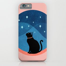 Abstraction_CAT_NIGHT_SKY_STARS_Minimalism_001 iPhone Case