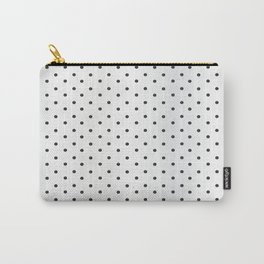 Black Polka Dots on White Faux Satin Carry-All Pouch