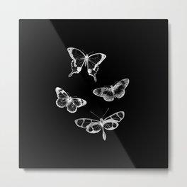 Vintage Butterflies Illustration on Black Background Metal Print