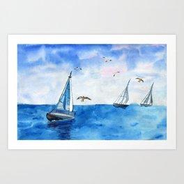 Boat trip on the yacht Art Print