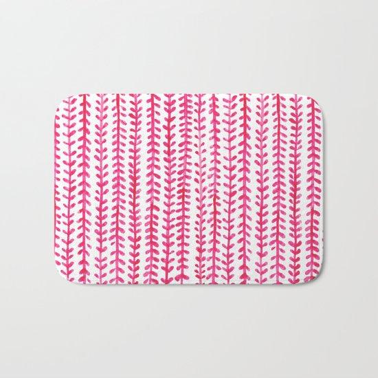 Watercolour Experimenting: Pink Leaves.  Bath Mat