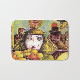 Fruit Hats and Feathers Bath Mat