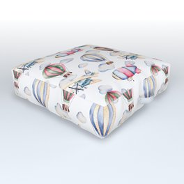 Sky Voyage Watercolor Outdoor Floor Cushion