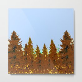 DECORATIVE BROWN-OCHER COLORED FOREST Metal Print