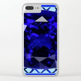 BLUE  SAPPHIRE DECEMBER GEM BIRTHSTONE MODERN ART Clear iPhone Case