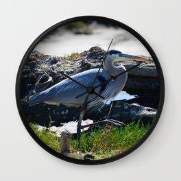 posing heron Wall Clock