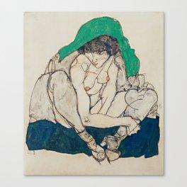 Egon Schiele - Crouching Woman with Green Headscarf Canvas Print