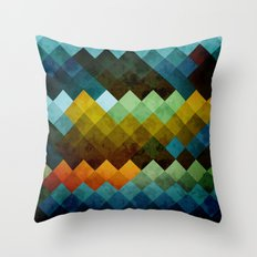 Abstract Cubes BYG Throw Pillow