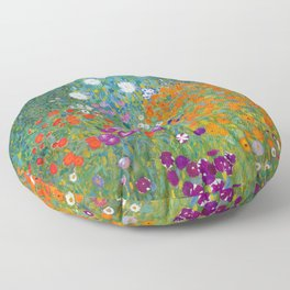 Gustav Klimt - Cottage Garden Floor Pillow