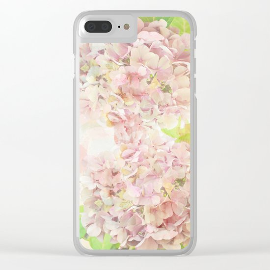 Pink Hydrangeas on a soft pastel abstract background Clear iPhone Case