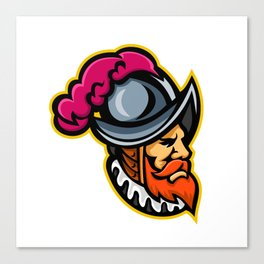 Spanish Conquistador Head Mascot Canvas Print