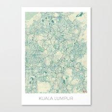 Kuala Lumpur Map Blue Vintage Canvas Print