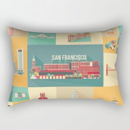 San Francisco Landmarks Rectangular Pillow