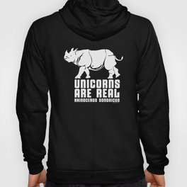 Unicorns Are Real 3, white text Hoody