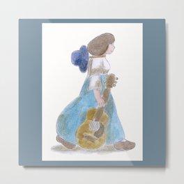 Girl with Guitar    Metal Print