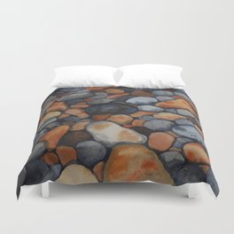 Pebbles on the shore Duvet Cover