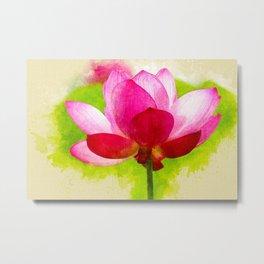 Single Lotus Flower Watercolor Metal Print