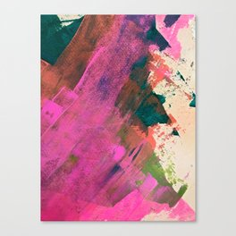 Expand [1]: a colorful, minimal abstract piece in pinks, green, and blue Canvas Print