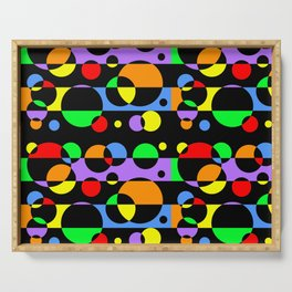 Rainbow Geometric Multicolored Modern Circle Pattern Serving Tray