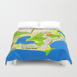RIO map design - Brasil Duvet Cover
