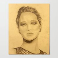 jennifer lawrence Canvas Prints featuring jennifer lawrence by Sharon Genao