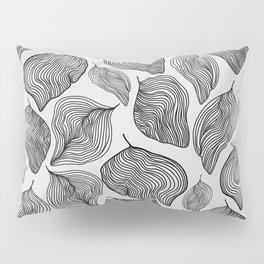 Black and White Lined Leaves  Pillow Sham