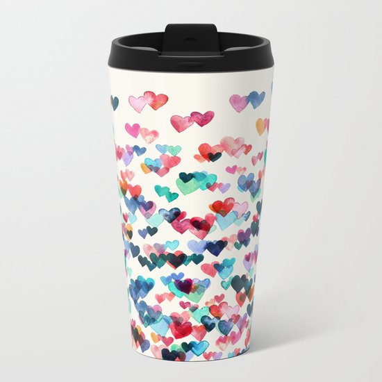 Heart Connections - watercolor painting Metal Travel Mug