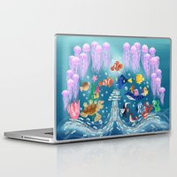 finding nemo Laptop & iPad Skins featuring Sea Wallpainting by princessbeautycase