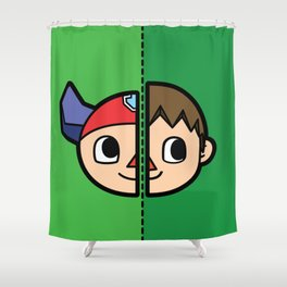 Old & New Animal Crossing Villager Comparison Shower Curtain