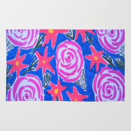 Classic Pink and Blue Floral Rug