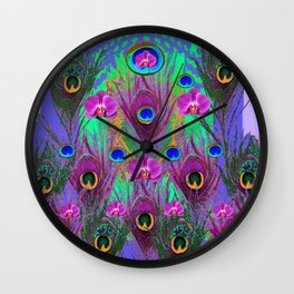 Blue Green Peacock Feathers Lavender Orchid Patterns Art Wall Clock