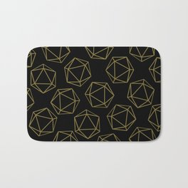 D20 Pattern - Gold and Black Bath Mat