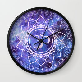 Om Mandala Purple Lavender Blue Galaxy Wall Clock