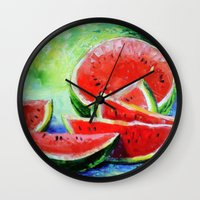 watermelon Wall Clocks featuring watermelon by OLHADARCHUK