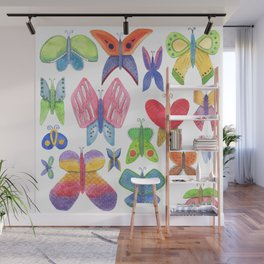 bright juicy spring summer pattern of colorful fun colorful butterflies isolated on a white backgrou Wall Mural
