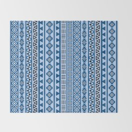 Aztec Influence Pattern II Blues Black White Throw Blanket