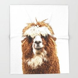 Alpaca Portrait Throw Blanket