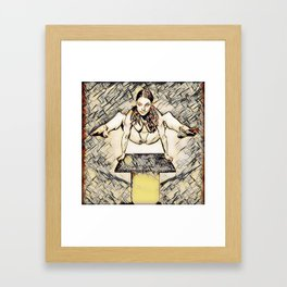 7717s-MAK Leaping Nude Girl Above Platform Erotica in the Style of Wassily Kandinsky Framed Art Print